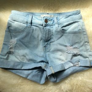 Pacsun Light Washed Distressed Denim Shorts